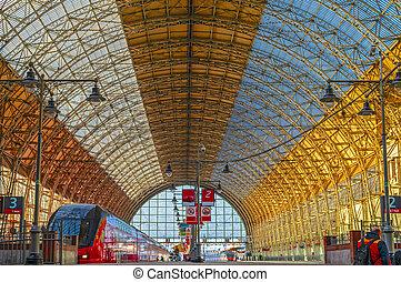 Train Station. Transparent roof railway station.