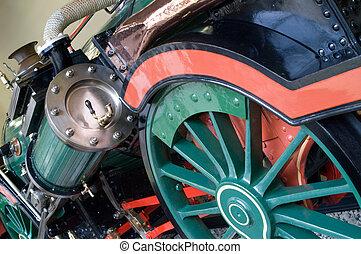 Train steam engine close up showing details