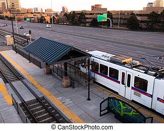 Train at the light rail station in Denver.
