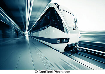 Train - Motion blurred public rapid train near station