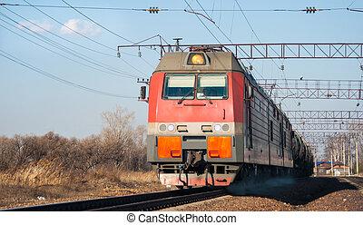 Train - The train moves by rail