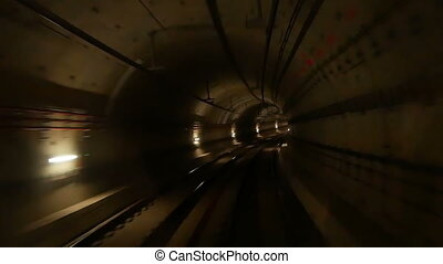 Train subway tunnel speed - View of a subway tunnel as seen...