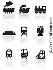 Train symbol vector set.