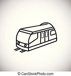 Train thin line on white background