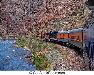 Train Through Royal Gorge below the Royal Gorge Bridge in Canon City, Colorado