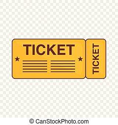 Train ticket icon, cartoon style