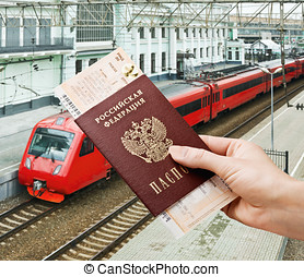 train ticket in his hand