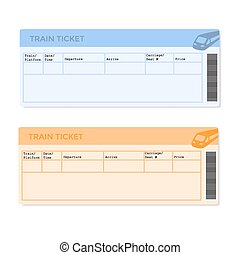 train tickets cartoon illustration showing train ticket templates