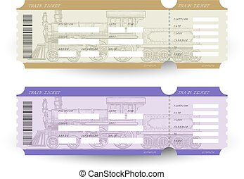 Train tickets. Travel concept. Isolated on white. Vector...