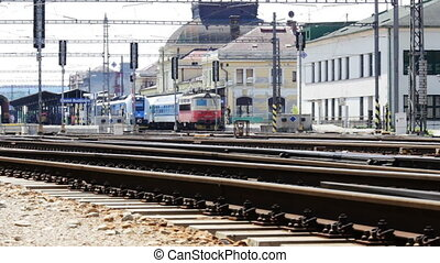 Train time lapse on main station in Ceske Budejovice