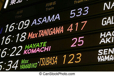 Train arrival and departure board at a station near Tokyo