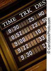 Train timetable - Display of a timetable for trains and...
