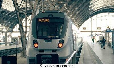 Modern train to the future. Travelling conceptual intro