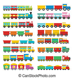 Train toy children icons set, flat style