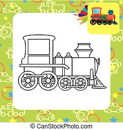 Train toy. Coloring page