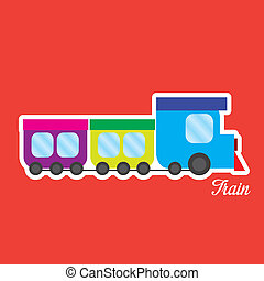 Train Toy - abstract cute toy on a red background
