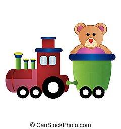 Train toy with a teddy bear