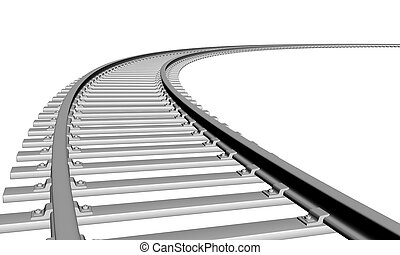 Train track - 3d illustration of a train track in white ...