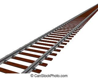 Train track - 3d illustration of a train track in white...