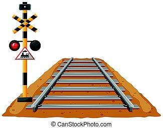 Train track and light signal pole