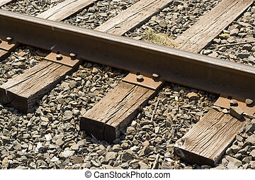 train tracks - A closeup of some weathered railroad tracks.