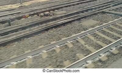 Train tracks, day. Rails and junctions.
