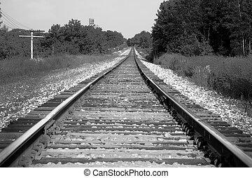 Train tracks in black and white