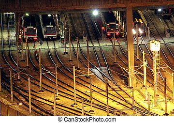 Train tracks in hongkong by night.