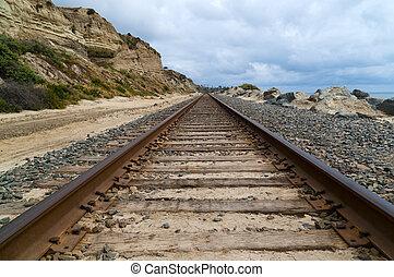 Train tracks on the coast of a Californa beach