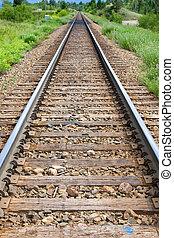 Train tracks recede into distance