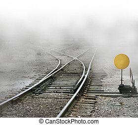 Train Tracks Split - Photo Illustration of train tracks...