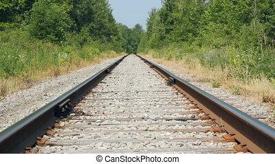 Train tracks. - View from ground level of train tracks. Heat...