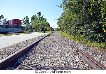Train tracks to the depot - This is a photo of train tracks...