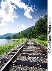 Train Tracks - Train tracks near a large lage going through...