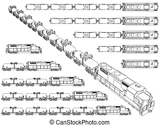 Train Trailer - Vector illustration set with trains carrying...