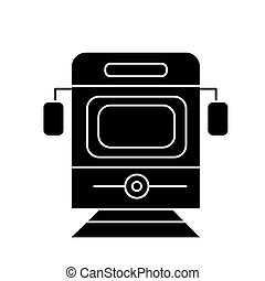 train - tram front view icon, vector illustration, black sign on isolated background