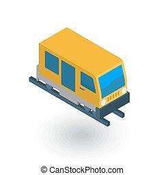 train, tram, rails transport isometric flat icon. 3d vector