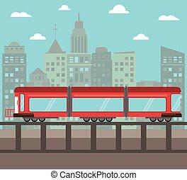 train transport city night