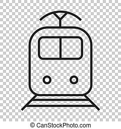 Train transportation icon. Vector illustration on isolated transparent background.  Business concept train pictogram.