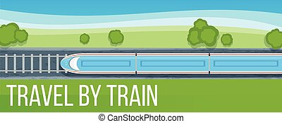 Train travel banner. High-speed train traveling by rail....