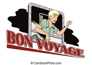 train., travel., début, bon, girl, voyage.