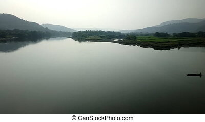 Train travel throu India 1. Beautiful misty river - Train...