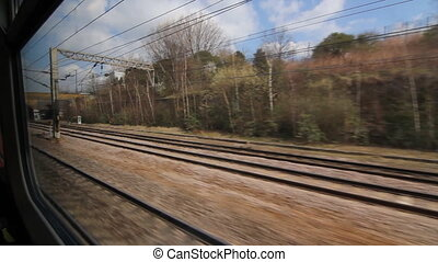 Train travel UK. Arched bridge. - Travelling by train. Going...