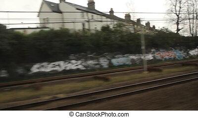 Train travel UK. Grafitti.