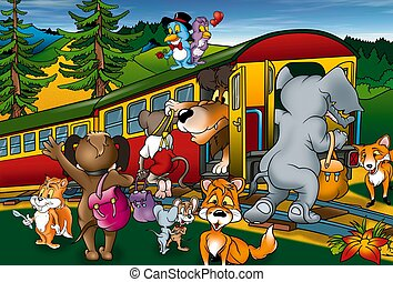 Train Trip - Cartoon Background Illustration, Bitmap