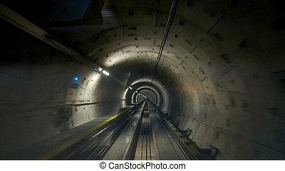 train tunnel between terminals at frankfurt airport, germany