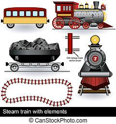 train, vapeur, éléments