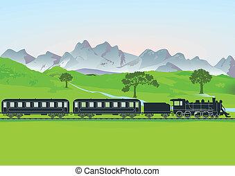 train vapeur, devant, montagne, me
