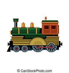 train., vapor, vetorial, retro, icon., locomotiva