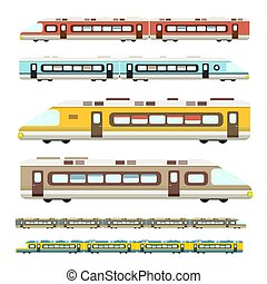 Train. Vector Flat Design Modern Trains Icons Set Isolated on White Background.